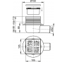 APV26 Podlahová vpusť bočná nerez znížená 105 × 105/50