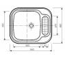 548 MONO Norma Drez nerezový š. 560 mm, hl. 480 mm