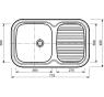 542 MINOR Norma Drez nerezový š. 775 mm, hl. 480 mm