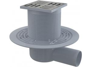 APV101 ALCAPLAST Podlahová vpusť bočná mosadz-chróm 105×105/50
