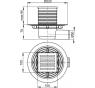 APV103 ALCAPLAST Podlahová vpusť bočná mosadz-chróm 105×105/50