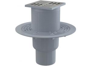 APV201 ALCAPLAST Podlahová vpusť priama mosadz-chróm 105×105/50