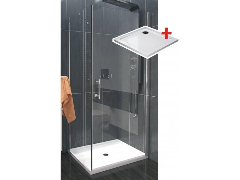 ALFA ROCKY 100 x 100 cm Clear Well Luxusná štvorcová sprchová zástena s vaničkou