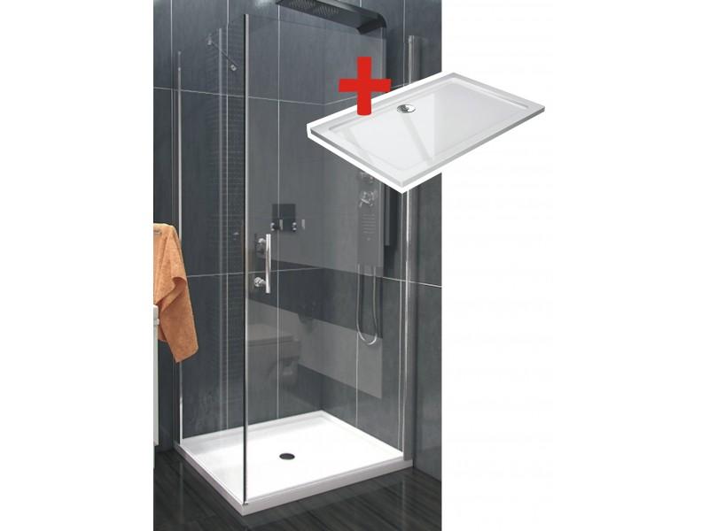 ALFA ROCKY 90 x 80 cm Clear Well Luxusná obdlžniková sprchová zástena