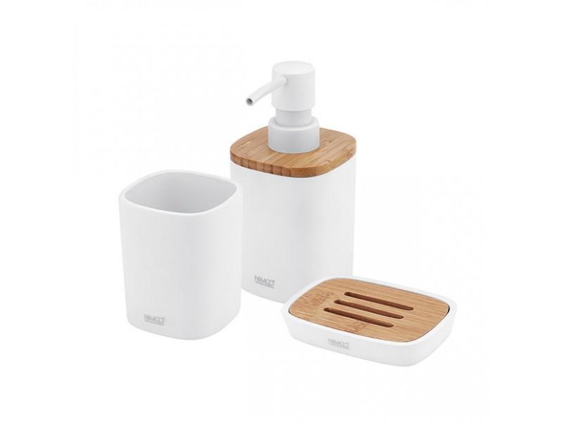 BADU Nimco Set do kúpeľne - Dávkovač, mydlovnička, dóza na kefky