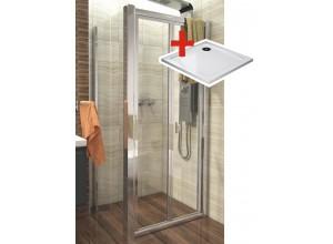 DELTA ROCKY 80x80 Clear Well Sprchovací kút sa zalamovacím dverami a mramorovú vaničkou