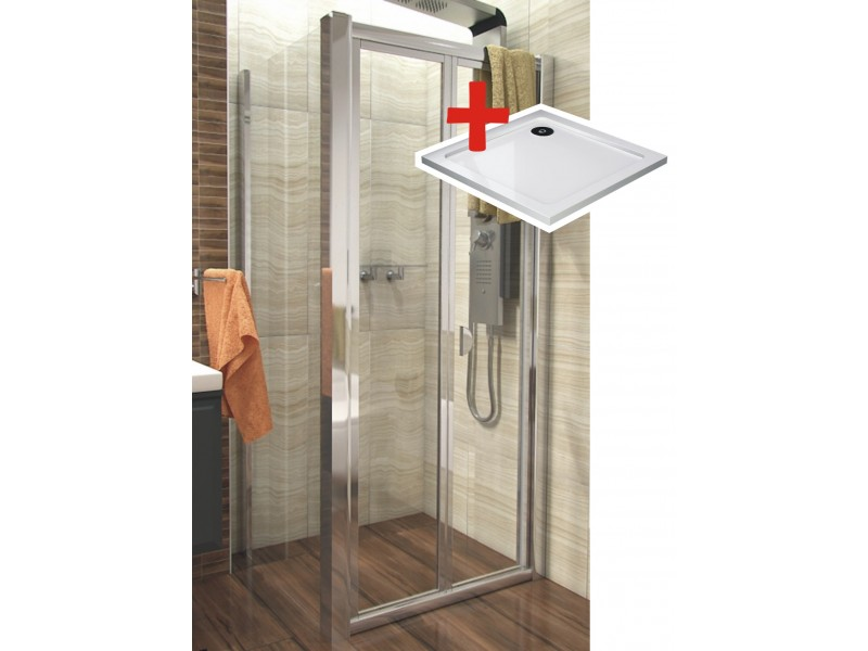 DELTA ROCKY 90x90 Clear Well Sprchovací kút sa zalamovacím dverami a mramorovú vaničkou