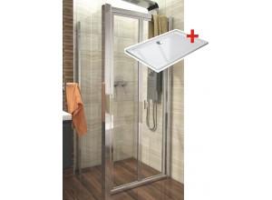 DELTA ROCKY 90x80 Clear Well Sprchovací kút sa zalamovacím dverami a mramorovú vaničkou