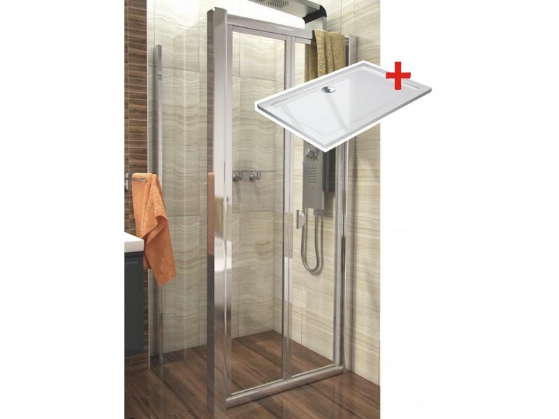 DELTA ROCKY 100x80 Clear Well Sprchovací kút sa zalamovacím dverami a mramorovú vaničkou