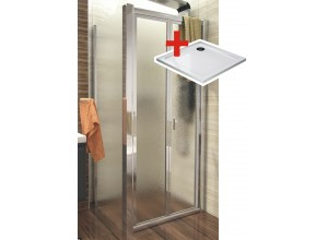 DELTA ROCKY 100x100 Grape Well Sprchovací kút sa zalamovacím dverami a mramorovú vaničkou
