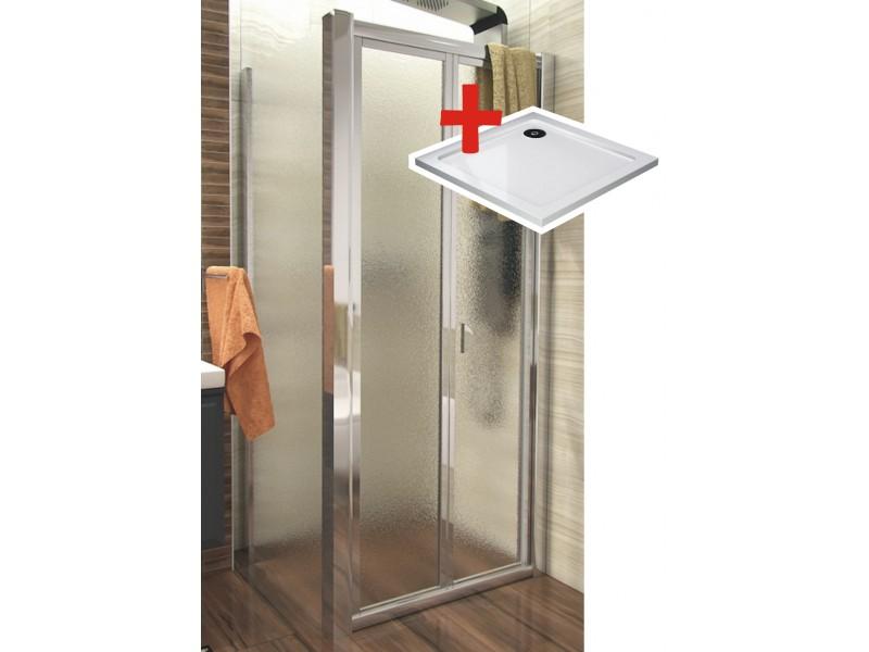 DELTA ROCKY 90x90 Grape Well Sprchovací kút sa zalamovacím dverami a mramorovú vaničkou