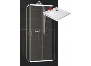 KATY Q 80 clear ROCKY Well Štvorcová sprchová zástena s mramorovou vaničkou
