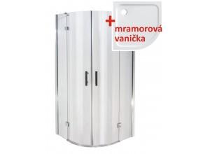 NORWICH 90 Clear MRAMOR Well Luxusný sprchový kút s mramorovou vaničkou