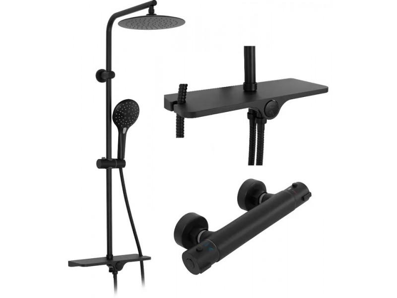 MARIN Black Well Sprchový set s termostatickou batériou a poličkou