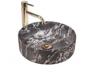 SABINE marmo black Umývadlo na dosku - guľaté, mat
