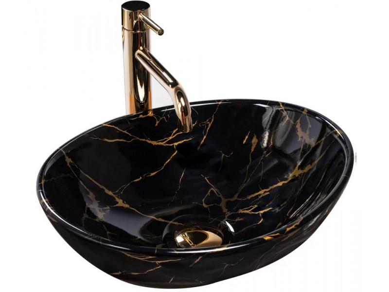 SATUR black marmo Umývadlo na dosku - lesk