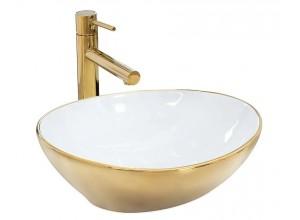 SATUR gold+white Umývadlo na dosku - lesk