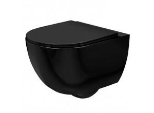 CURT mini RIMLESS WC misa závesná vrátane sedátka, čierna lesk