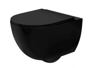 CURT mini RIMLESS WC misa závesná vrátane sedátka, čierna mat
